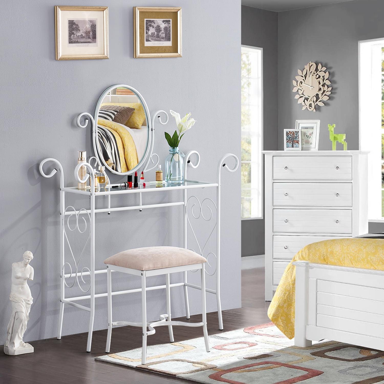 vecelo bedroom 2 piece metal vanity set with mirror and