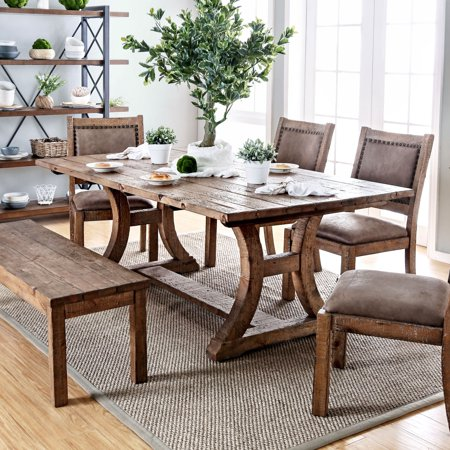 Furniture of America Matthias Industrial Rustic Pine Dining Table by FOA - Rustic Pine ()