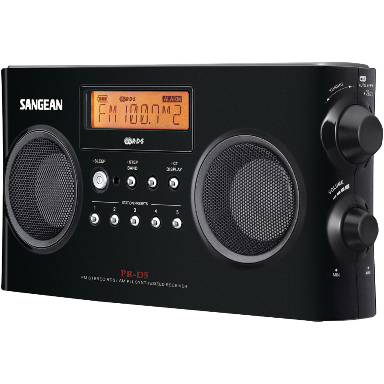 Sangean PR-D5-BK Digital Portable Stereo Receivers with AM/FM Radio (Black)