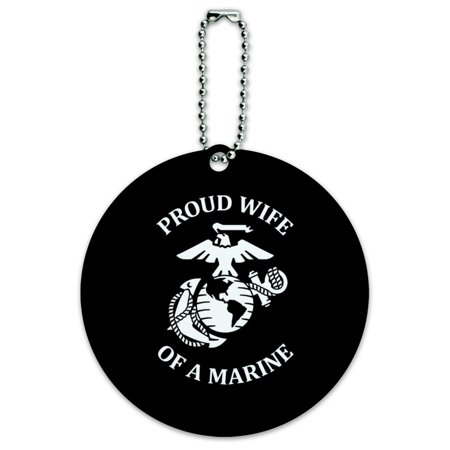 Proud Wife of a Marine USMC White Logo on Black Officially Licensed Round Luggage ID Tag Card Suitcase Carry-On