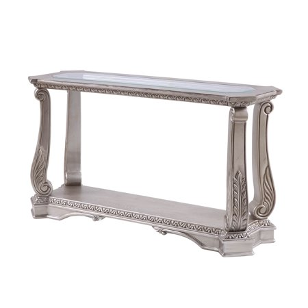 Acme Northville Sofa Table in Antique Silver and Clear Glass ()