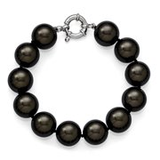 Sterling Silver 14-15mm Black Shell Bead Hand Knotted Bracelet