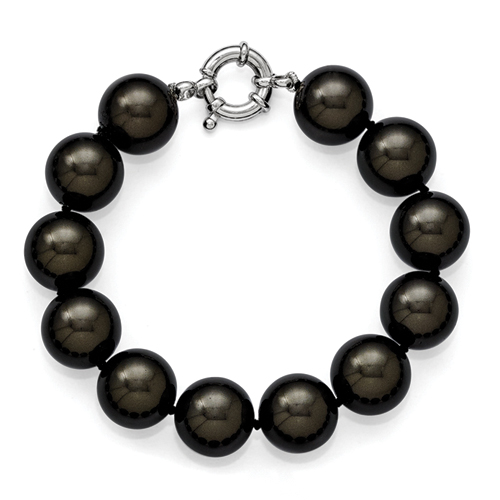 Sterling Silver Majestik 14-15mm Black Shell Bead Hand Knotted Bracelet