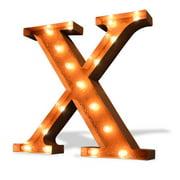 Trekshops Indoor/ Outdoor Rusted Steel Greek Letter 'Chi' Iconic Profession/Commercial MarqueeLight