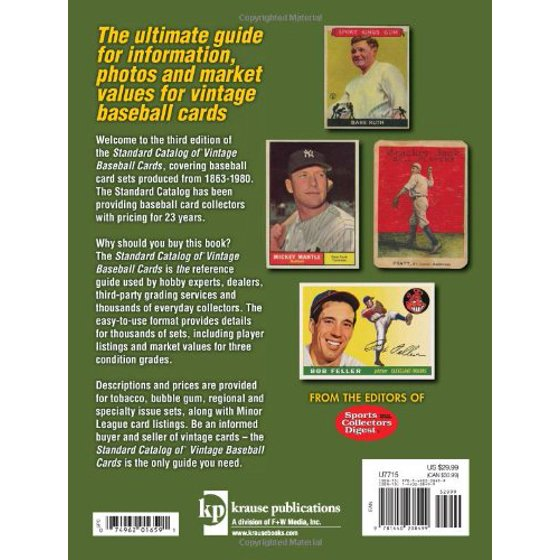 Standard Catalog Of Vintage Baseball Cards Sports Collectors Digest Staff