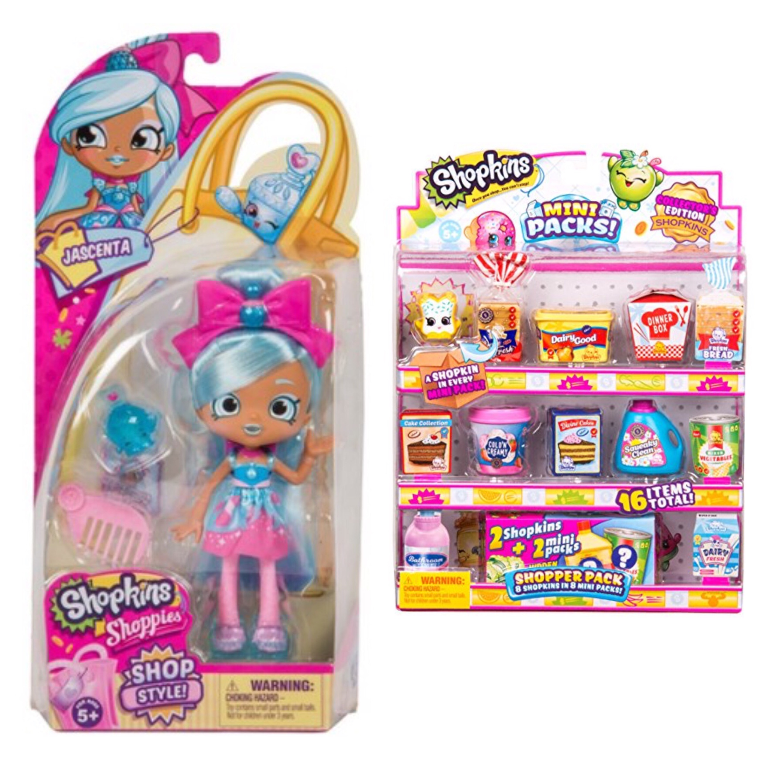 Shopkins Season 10 Shoppie Doll Jascenta and Mini Pack Shoppers Pack Bundle