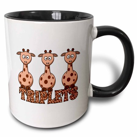 3dRose Three Giraffes with Giraffe Print for Non Gender Specific Triplets - Two Tone Black Mug, 11-ounce ()