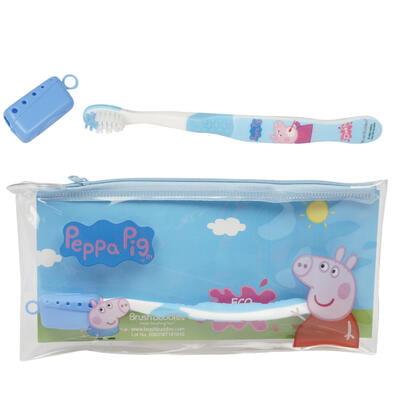 3 Pcs Eco Peppa Pig Travel Kit - toothbrush, toothbrush cap & zip - Eco Kit House