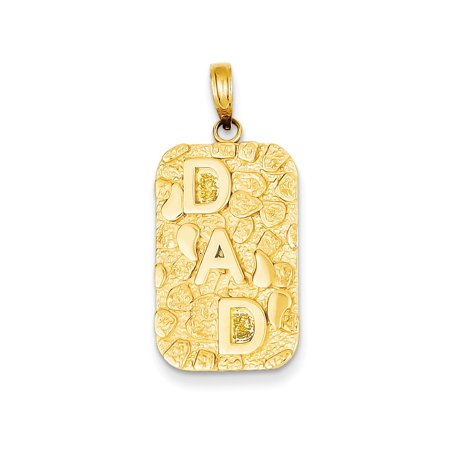 14K Yellow Gold Nugget Dad Dog tag Charm 15mm x 30mm