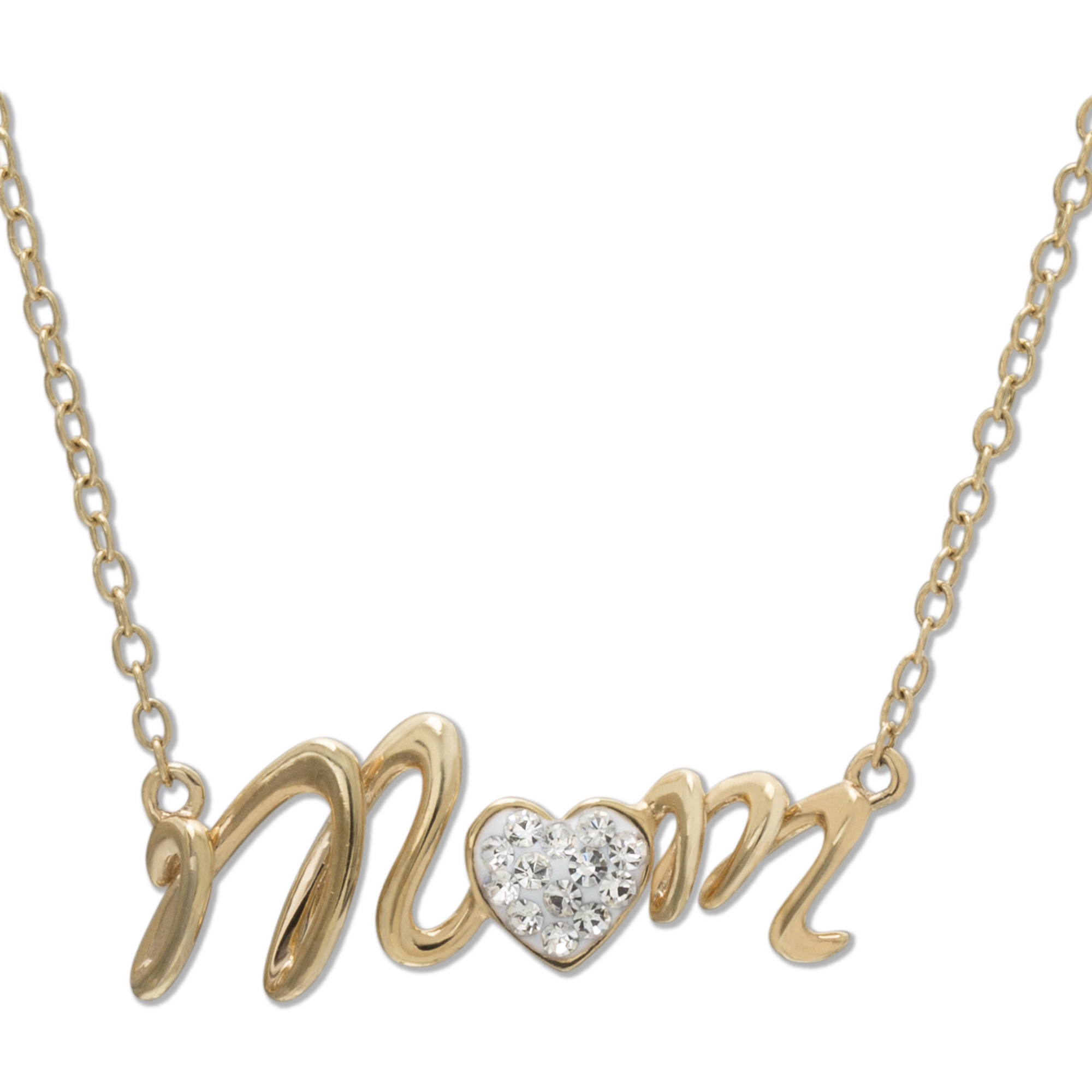 """Crystal 18kt Gold-Tone """"Mom"""" Heart Necklace, 18"""" Chain"""