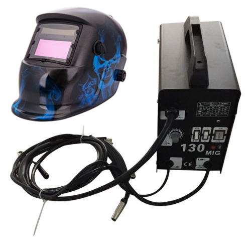 Zimtown MIG 130 110V Electric Gas-Less Welder Flux Core Wire Automatic Welder Welding Machine Kit + Welding Helmet Mask Shield Hoods
