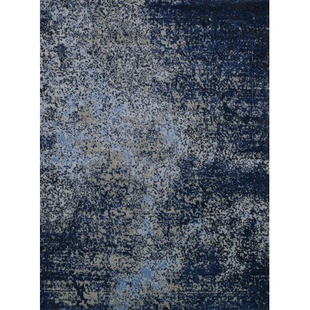 Contemporary Viera Collection Area Rug In Gray Navy And