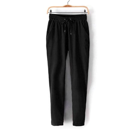 Clearance Women's Elastic Waist Chiffon Harem Long Pants Drawstring Trousers for -