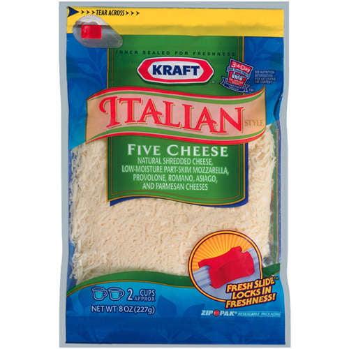 Kraft Natural Cheese Italian Style Five Cheese Shredded Shredded Cheese, 8 oz