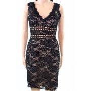 Xscape NEW Black Womens Size 6 Lace V-Neck Illusion Sheath Dress