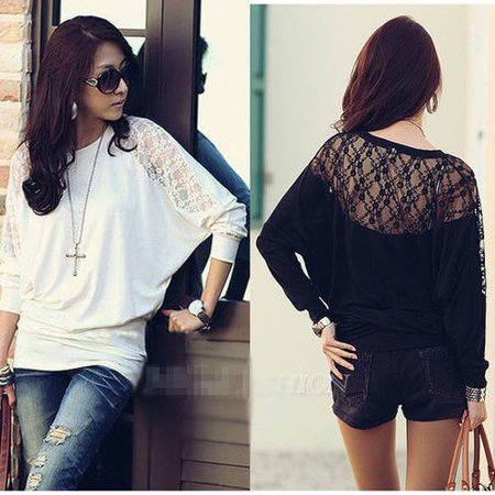 LH Women's Ladies Batwing Blouse Tops T-Shirt Dolman Lace Long Sleeves (Lh Sleeve)