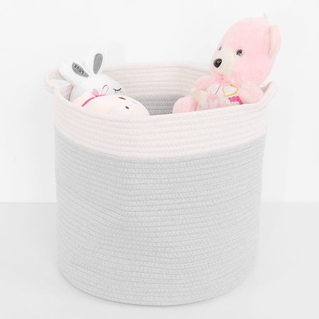 Unique Bargains Household Cotton Rope Storage Baskets and Bins with Handles,Gift Toys Storage Box Organizer](Storage Organizer With Bins)