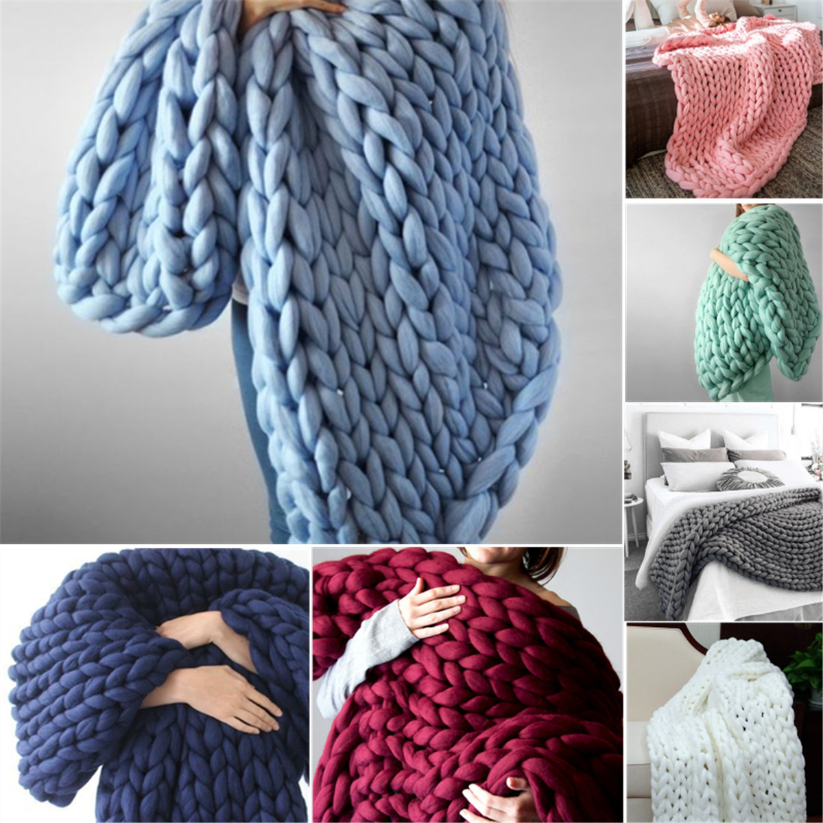 120x150cm Chunky Knitted Thick Blanket Hand Yarn Bulky Knit Throw Sofa Bed