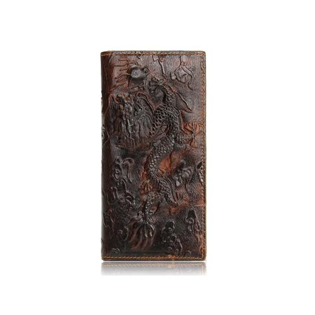 Meigar Men Brown Genuine Leather Dragon Long Short Wallet Coin Money Card Holder Clutch