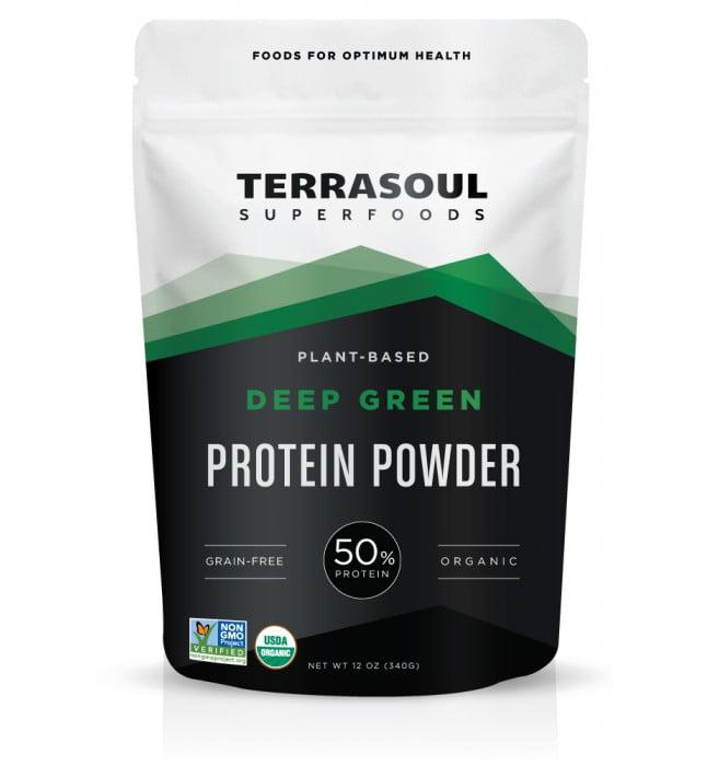 Terrasoul Superfoods Organic Vegan Protein Powder, Deep Green, 12.0 Oz