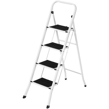 Best Choice Products Portable Folding 4 Step Ladder Steel Stool 300lb Heavy Duty