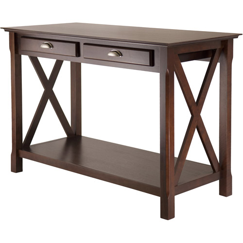 Winsome Wood Xola X Panel Console Table with Drawers, Cappuccino