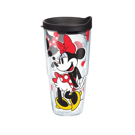 Tervis Disney Minnie Rocks The Dots Wrap Tumbler with Black Lid, 24 oz, Clear (Tervis Tumblers Minnie Mouse)