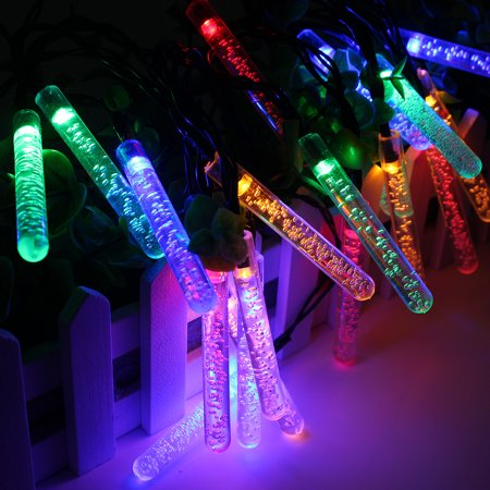 Christmas Waterproof Icicle Lights,20 LED Solar String Lights, Solar Powered Outdoor Lights for Christmas or Party Decorations ()