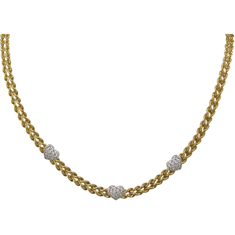 Love Earth Ss/10k Rpe 3 Heart Necklace