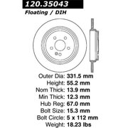 StopTech 127.35043R StopTech Sport Rotors; Drilled And Slotted; Rear Right;11.69 in. Dia.; 1.43 in. Height;