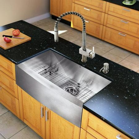 VIGO 33 L x 22 W Farmhouse Kitchen Sink with Faucet, Grid, Strainer and Soap Dispenser