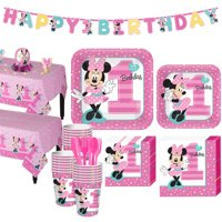 1st Birthday Minnie Mouse Party Kit for 32 Guests, with Table Decorating Kit