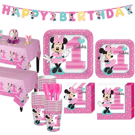 Minnie Mouse Birthday Table Ideas (1st Birthday Minnie Mouse Party Kit for 32 Guests, with Table Decorating)