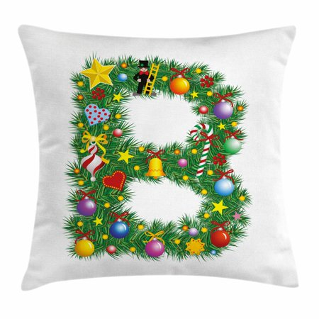 Letter B Throw Pillow Cushion Cover, Tasty Candy Cane and Figure with Top Hat Suit Christmas Tree Design with B Print, Decorative Square Accent Pillow Case, 16 X 16 Inches, Multicolor, by Ambesonne