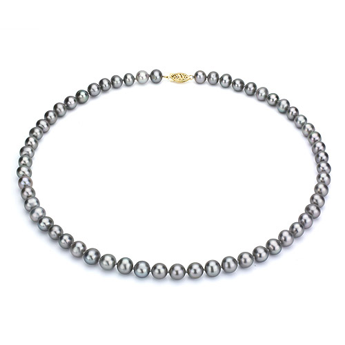 """Ultra-Luster 8-9mm Grey Genuine Cultured Freshwater Pearl 18"""" Necklace and 14kt Yellow Gold Filigree Clasp by Jacqueline's Collection"""