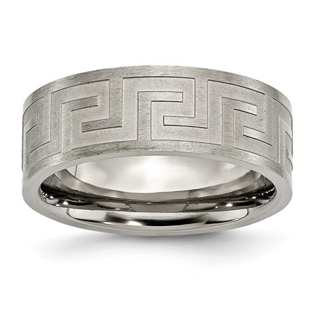 Chisel Titanium Greek Key 8 MM Satin Polished Wedding Band, Size 12 (Satin Greek Key)