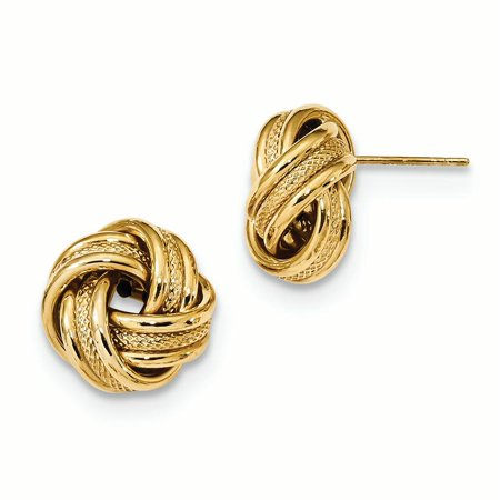 14K Yellow Gold 13 MM Polished Textured Triple Love Knot Post Stud Earrings