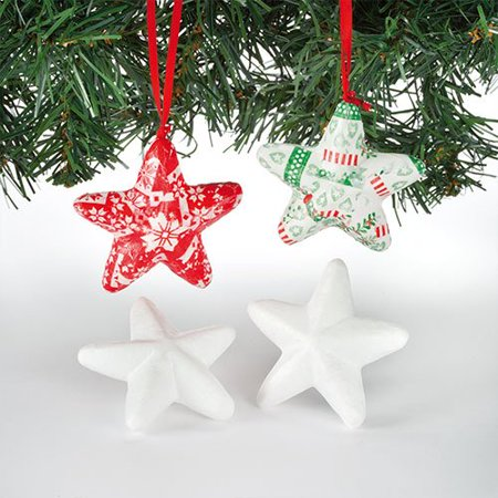 3d polystyrene stars for children to decroate and personalise pack of 15 lightweight - Ross Christmas Decorations