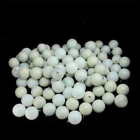 100CT blanc incassables 3 Fini Boule de Noël Ornements 2.5 (60mm) - image 1 de 1