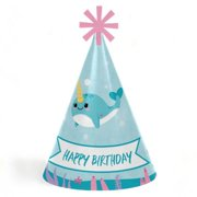 Narwhal Girl - Cone Happy Birthday Party Hats for Kids and Adults - Set of 8 (Standard Size)