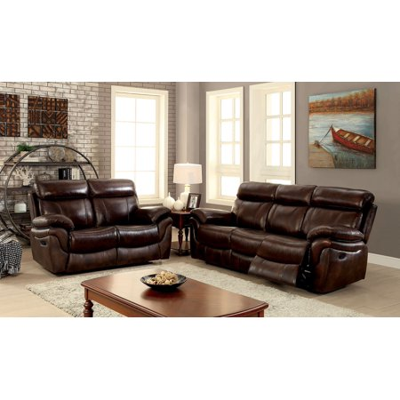 Living Room Furniture 2pc Sofa Set Motion Reclining Sofa Loveseat Top Grain Leather Match Brown Plush Cushion