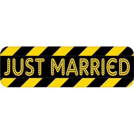 10in x 3in Caution Just Married Bumper Sticker Decal Window Car Stickers Decals - Just Married Car Decorating Kit