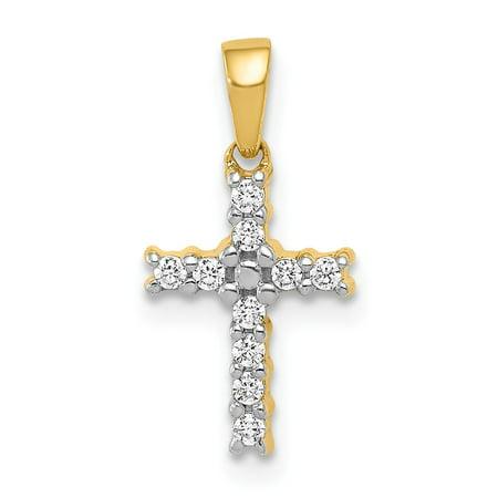 Diamond Pendant 14kt Gold Jewelry (Roy Rose Jewelry 14K Yellow Gold Diamond Latin Cross Pendant)