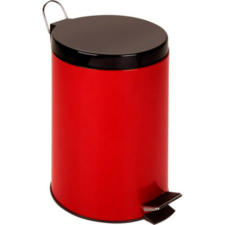 Honey Can Do 12-Liter Stainless Steel Step Trash Can, Red ()