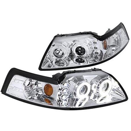 Spec-D Tuning For 1994-2004 Ford Mustang Dual Halo Projector Headlights Chrome Head Lamps Pair (Left+Right) 1999 2000 2001 2002 2003 2004
