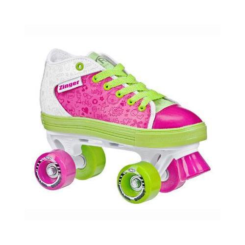 Roller Derby Girl's Zinger Quad Roller Skates - 1955 (Pink/White/Lime - 4)