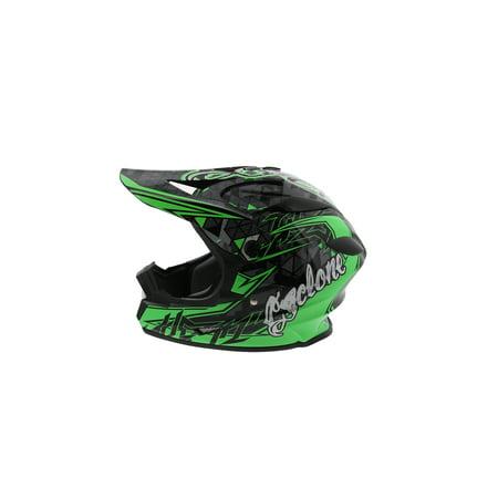 Cyclone ATV MX Motocross Dirt Bike Off-Road Helmet DOT/ECE Approved- Green