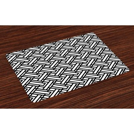 Pattern Placemat (Black and White Placemats Set of 4 Monochrome Interlocking Stripes Pattern with Modern Abstract Inspirations, Washable Fabric Place Mats for Dining Room Kitchen Table Decor,Black White, by Ambesonne )