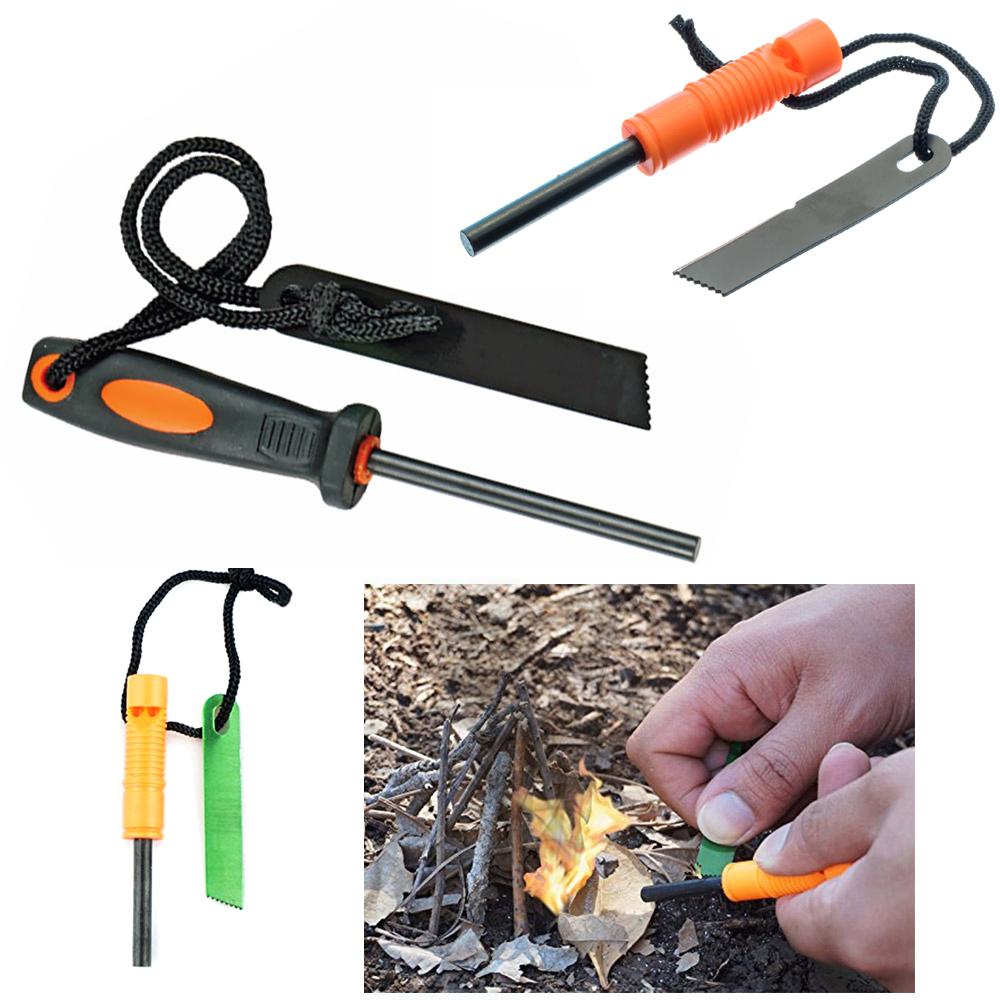 Emergency Magnesium Rod Fire Starter Scrapper Survival Kit Camping Tool Striker