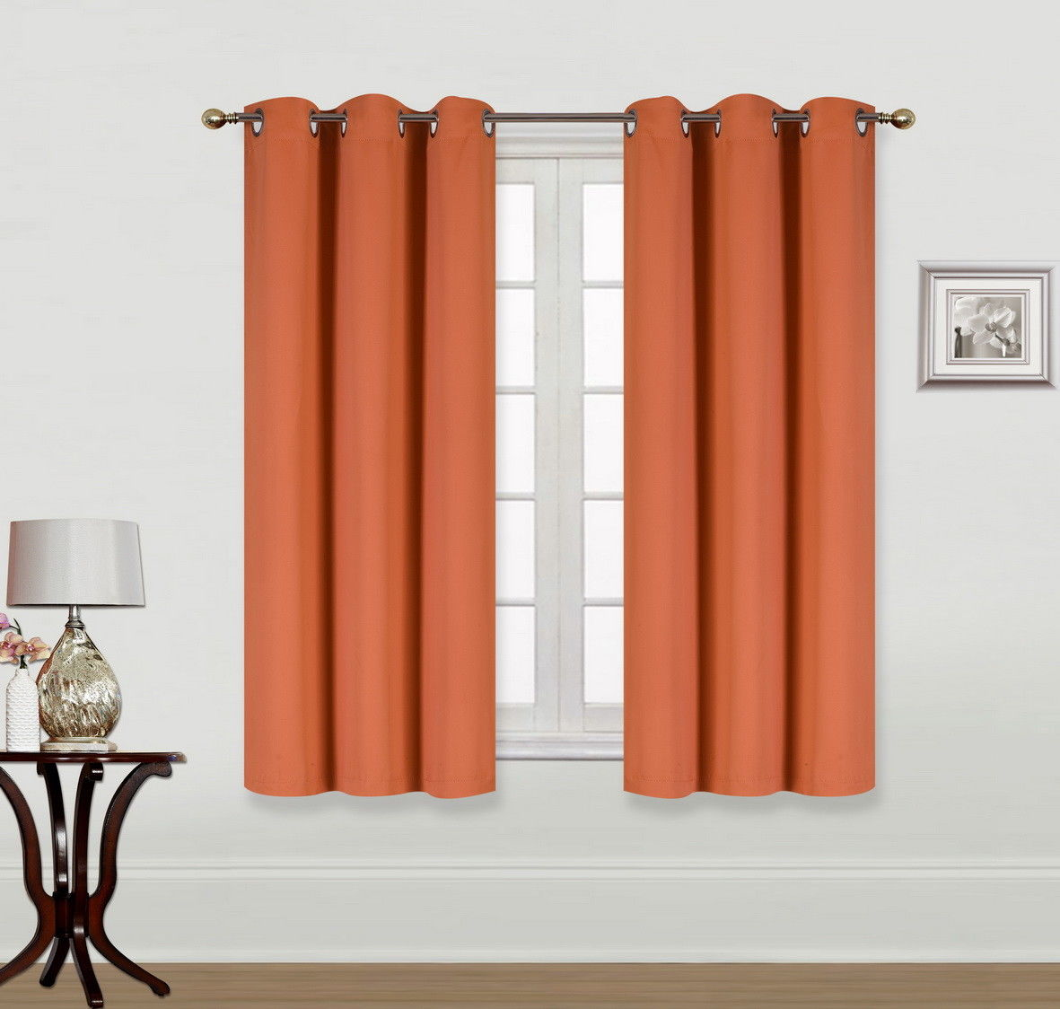 "(K68) ORANGE 2-Piece Indoor and Outdoor Thermal Sun Blocking Grommet Window Curtain Set, Two (2) Panels 35"" x 63"" Each"